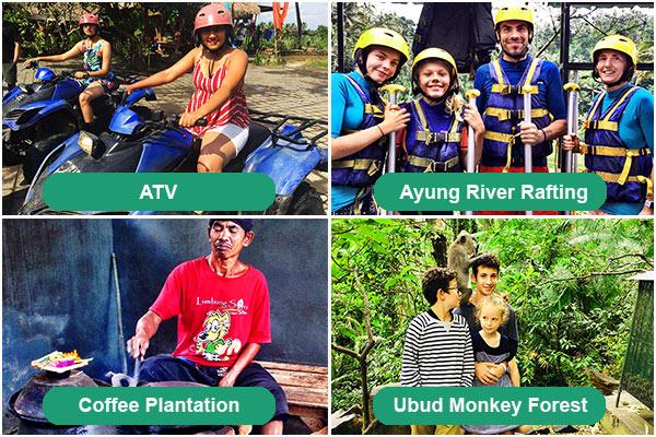 ATV, Ayung River Rafting, Coffee Plantation, Monkey Forest Ubud