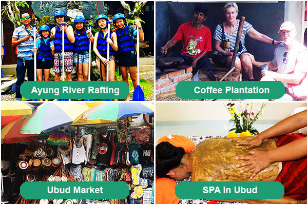 Ayung River Rafting, Coffee Plantation, Ubud Market, SPA in Ubud